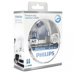 Лампа галогенна Philips H1 WhiteVision + 60% 4300K ​​12258WHVSM