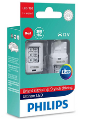 Габарит LED Philips W21W RED Ultinon 12V 11065ULRX2