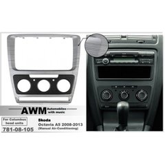 Рамка переходная AWM 781-08-105 Skoda Octavia 2008-2013 (Manual Air-Cond) Grey-HQ